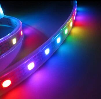 5M ūdensnecaurlaidīgs IP67 5050 RGB SMD WS2812B individuāli adresējams 30led / m WS2812 pikseļu LED sloksne DC5V