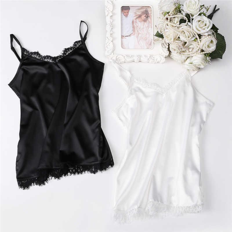 2019 caliente Sexy verano Top de seda mujeres V cuello Tops blusas básicas Casual Chaleco de encaje Mujer Tops mujer camisa TB07
