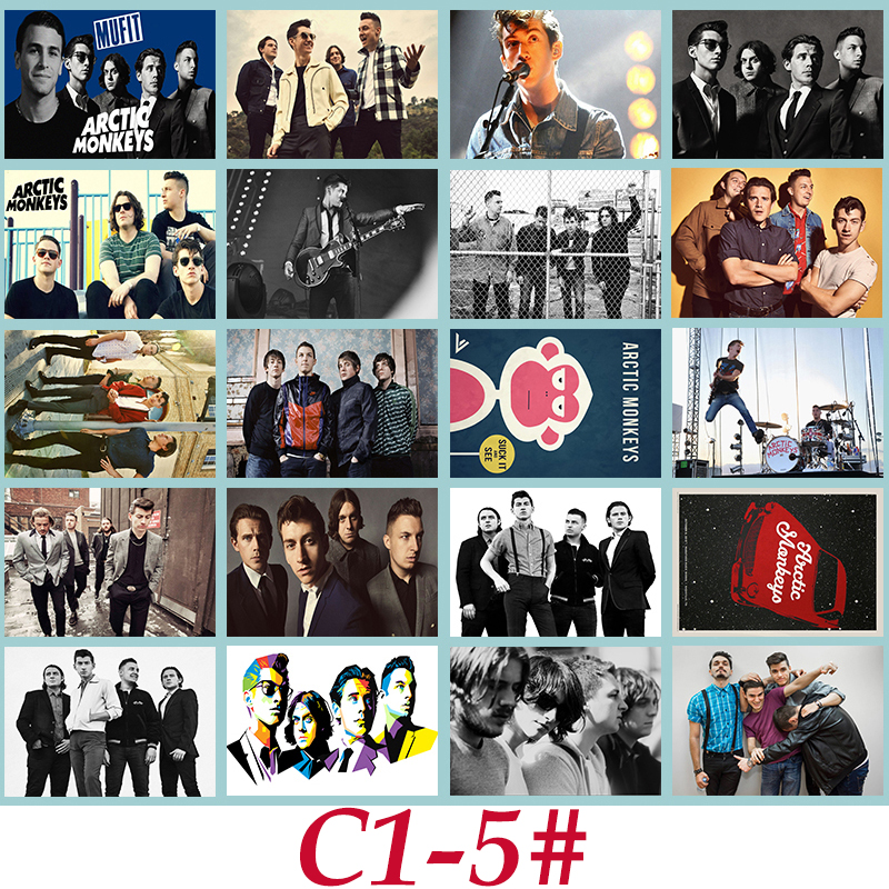 C1-5# Arctic Monkeys Classic Band Series sticker 20/pcs PVC Laptop collection Gift Home Decor Fridge Styling Mixed Stickers