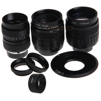 FUJIAN 35mm F1.7 CCTV Movie Lens + 25mm f1.4 TV Lens + 50mm f1.4 TV Lens for SONY E Mount A6500 A6300 A6100 NEX Series Camera
