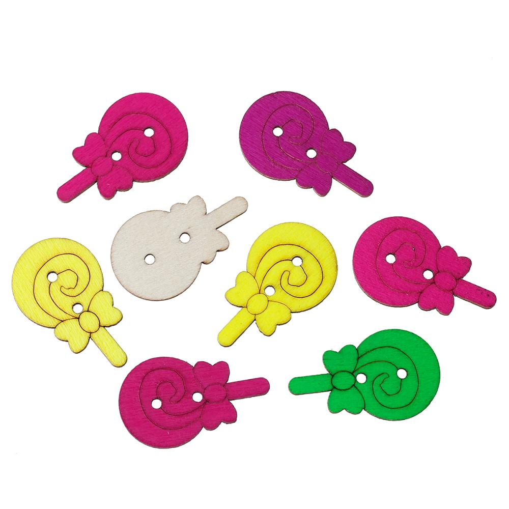③Doreenbeads madera Costura botón scrapbooking Lollipop al azar dos ...
