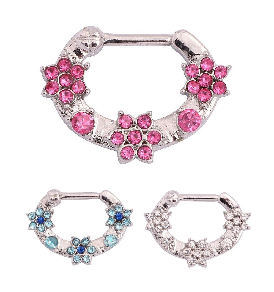 Jewelry amp watches gt fashion jewelry gt body jewelry gt body piercing - 3 Colors Delicate Flowers Design Steel Septum Clicker Nose Ring Piercing Body Jewelry Piercing China