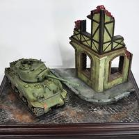 1/35 European House Ruins Military Tank Model 3D Puzzle DIY Painting Educational Toys Birthday Gift for Children Kids Toddler