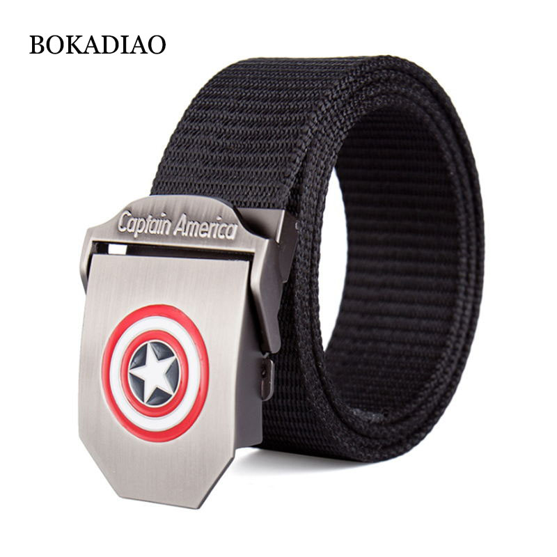 BOKADIAO Men&Women Thick nylon Canvas   belt   Super hero Metal buckle luxury jeans   belt   Military Army tactical   belts   for male strap