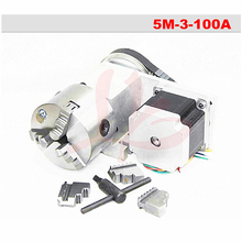 Rotary axis 5M-3-100A 100mm 3/4 jaws chuck CNC 4th axis with 100mm chuck 86 motor for cnc miiling machine cnc rotary axis the a axis the fourth rotation axis k11 100mm three claw chuck