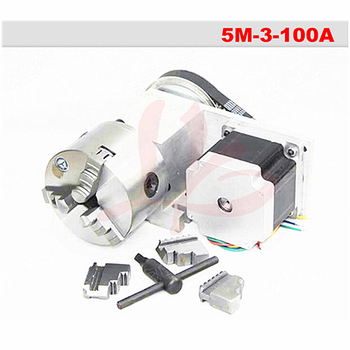 Rotary axis 5M-3-100A 100mm 3/4 jaws chuck CNC 4th axis with 100mm chuck 86 motor for cnc miiling machine cnc 4th axis 3 jaw chuck 100mm a aixs rotary axis with chuck for cnc router miiling planner