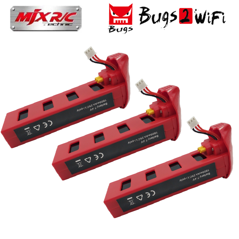 MJX Bugs 2 B2W B2C Battery 7.4V 1800mAh 25C Lipo Battery For B2 Brushless RC Drone Quadcopter Helicopter Spare Parts mjx bugs 3 rc quadcopter rtf black