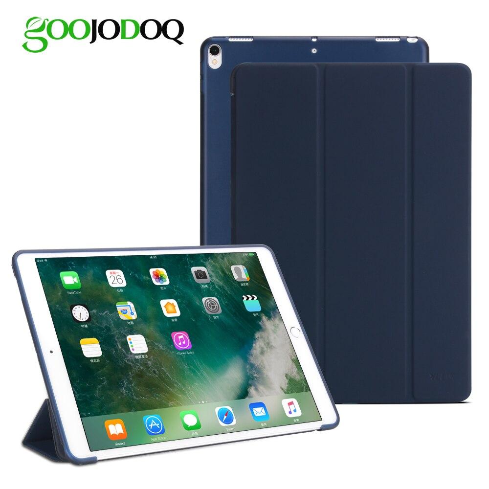 Per Il caso di iPad Pro 10.5 2017 Cassa DELL'UNITÀ di ELABORAZIONE di Cuoio Molle Del Silicone Posteriore Del Basamento Del Foglio Traslucido Smart Cover per iPad 10.5 pollice Auto Sleep