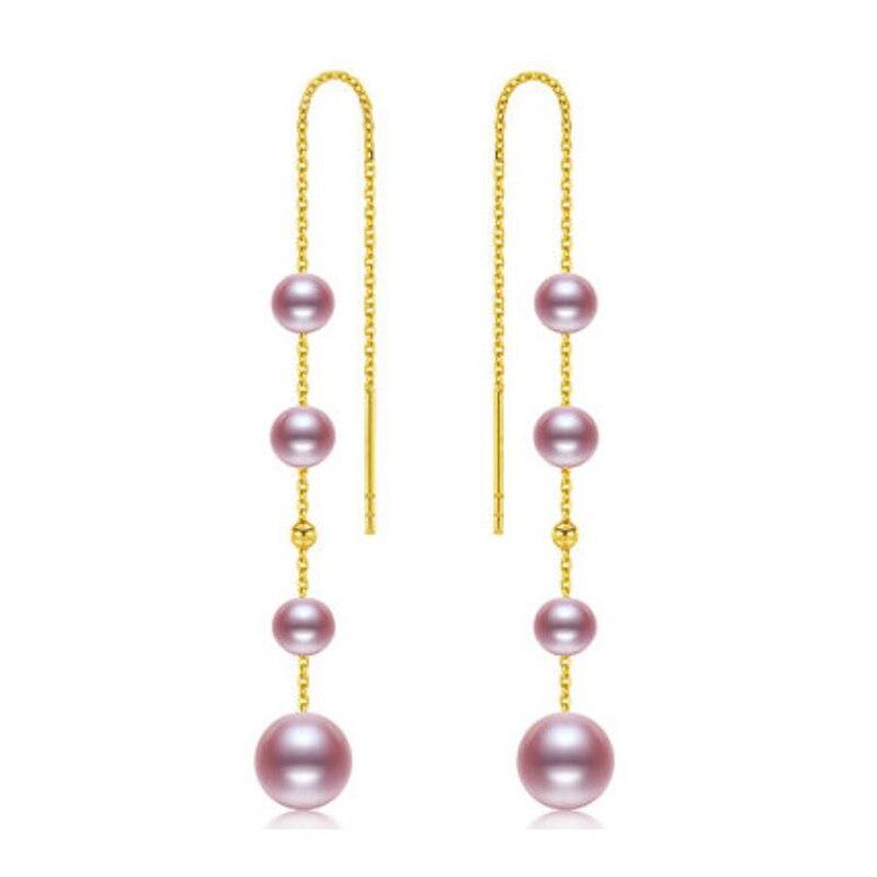 Pendiente de gota de oro de Sinya 18 k Au750 con pendiente de borla larga de perlas púrpura redondo Natural para mujer 2019