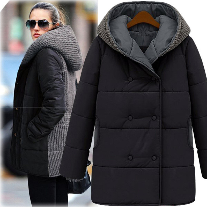 Large Size Women Winter New Knitted Stitch Hooded Cotton Padded Sweater Long Thick Cotton Jacket L