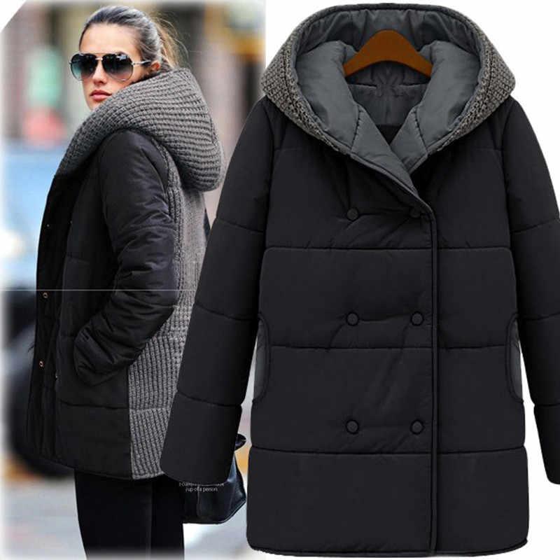 Большой размер, Женский Зимний новый вязаный свитер с капюшоном и хлопковой подкладкой, длинная толстая хлопковая куртка, L-4XL, теплые парки Mujer MZ1718