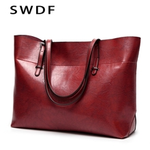 купить SWDF Women Shoulder Bag Fashion Women Handbags Oil Wax Leather Large Capacity Tote Bag Casual Pu Leather women Messenger bag по цене 1127.91 рублей