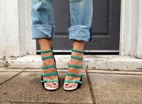 MIQUINHA Spring Fashion Faux Green Suede Leather Buckles Women Open Toe Pumps Cut Out Style Ladies
