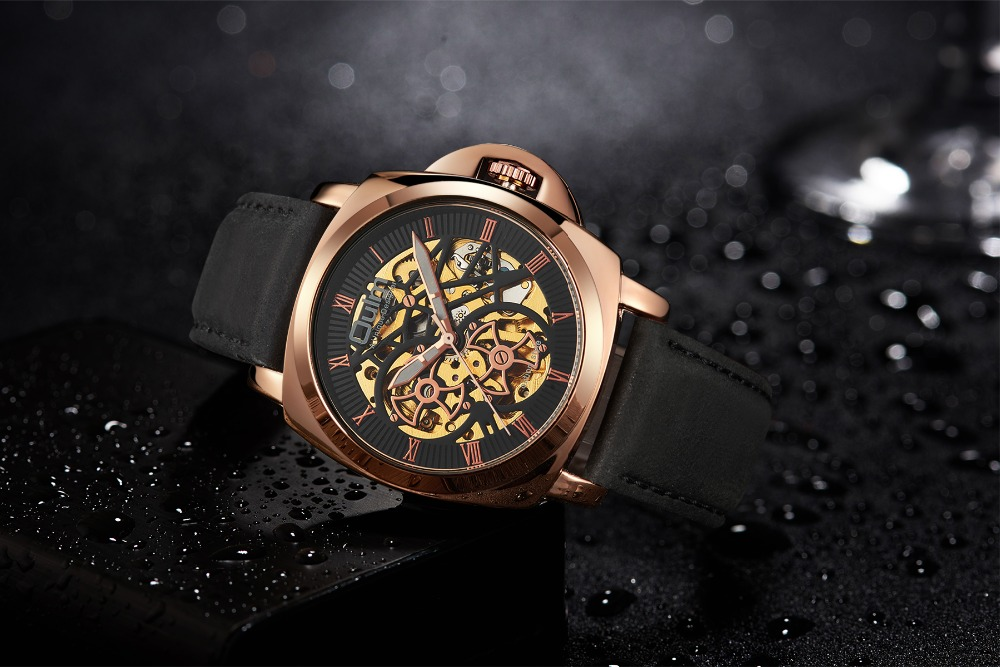 2018 Oulm Mechanical Wristwatches Automatic Self-Wind Male Watch Casual Leather Strap Watches Men Luxury Brand Business Watch new korean watch men band luxury male watches automatic self wind mechanical wristwatches belt strap waterproof tourbill 8502