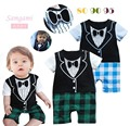 2014 Summer Baby Romper climbing clothes handsome boy tie -sleeved plaid pants modeling Romper Romper