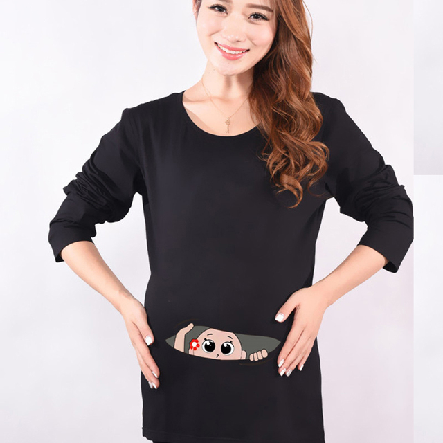 Autumn Maternity Funny Baby Peeking Out Shirts Black Cotton Pregnant Tops Tees Clothes Premama Wear Clothing Pregnancy Clothes