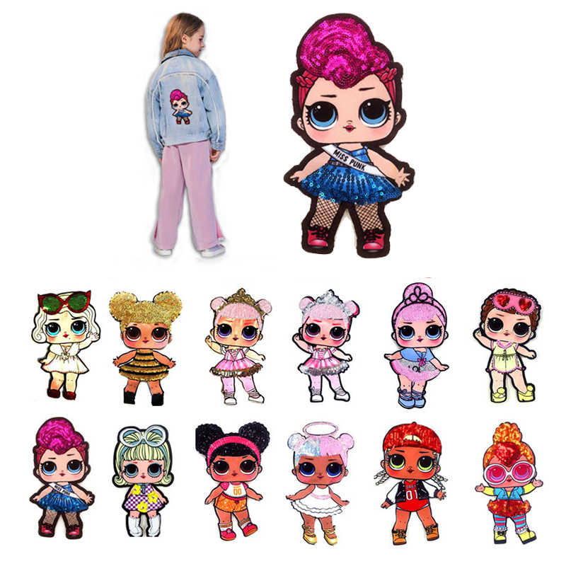 Hot Sale Cartoon Sequin Cute Sew On DIY Hoodie Clothes Patches High Quality Child T-shirt Popular 1PC Jacket Grade-A Girl