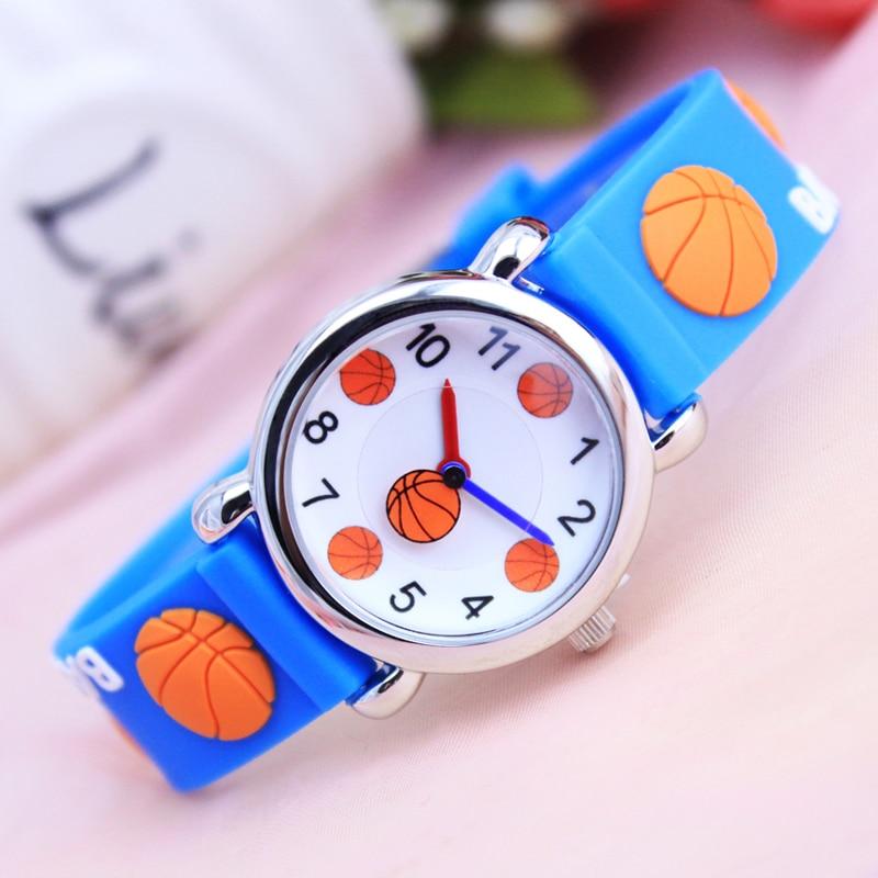 2018 New Children Boys Girls 3D Basketball Cartoon Quartz Watches Kids Fashion Cool Gifts Waterproof Clock Electronic Watches