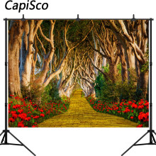 Capisco Red Flowers Tree road Photography Backdrop computer Printed children wedding party Backgrounds for Photo Studio(China)