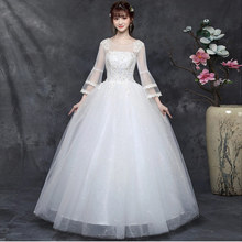 цена на New Flare Sleeve Wedding Dresses Simple Round collar Back Lace Up Wedding Gown lace Big yards Long sleeve Wedding Dress