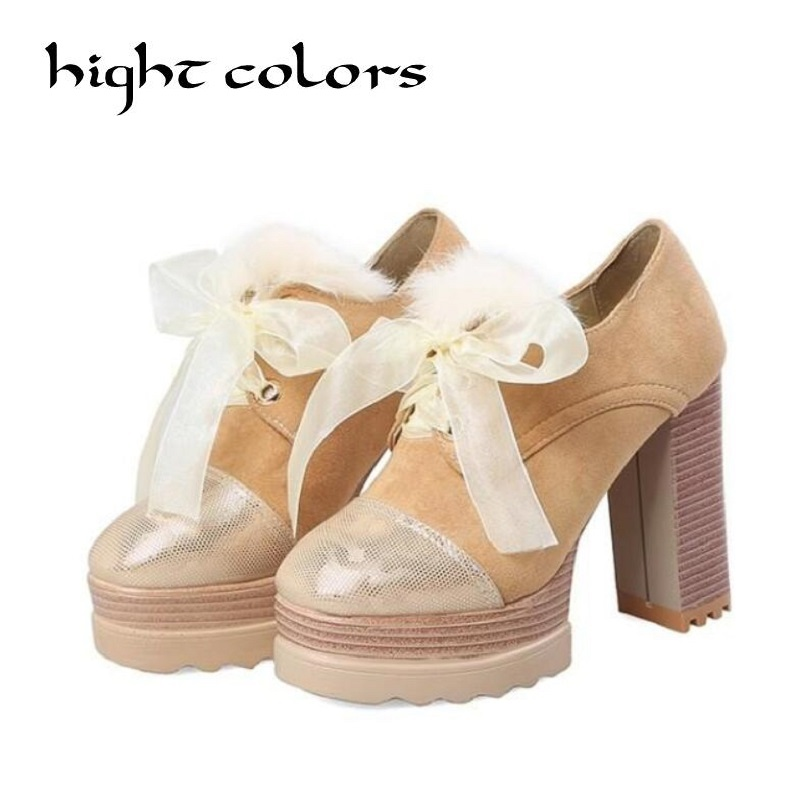 2018 Spring Women Pumps Sweet Style Square High Heels PU Leather Round Toe Slip on Platform Ladies Shoes Size 34-43 ladies comfortable women office shoes sandals square heels spring 2017 real leather round toe solid high heels big size 40 41 42