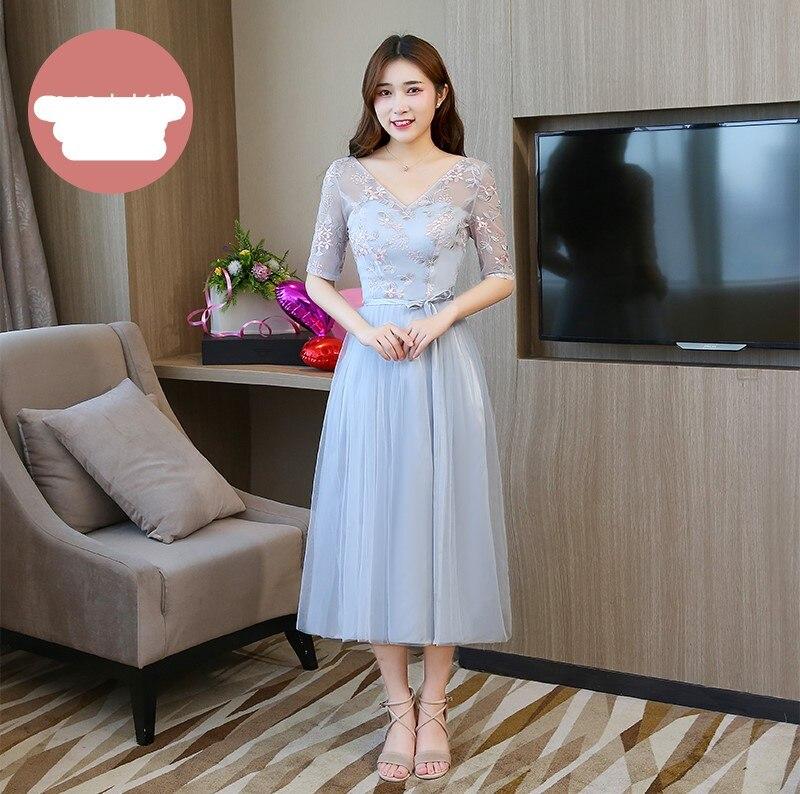 Blue Grey Colour Midi Dress Bridesmaid Dresses Short Sleeves  Wedding Party Dress  Embroidery