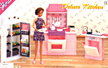 New Case For Barbie Doll House Kitchen Furniture Set Gift Box Simulation  Play House Dream Kitchen