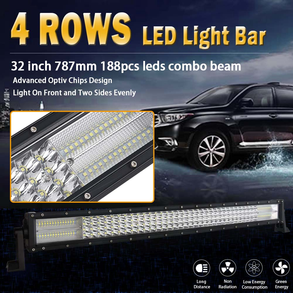 32 Inch 4 Rows Led Work light Led Bar for Off Road 4x4 4WD ATV UTV SUV Driving Motorcycle Light Truck Led Light Bar Auto Lamp auxiliar living room side tisch tablo de centro para sala bedside salontafel meubel coffee mesa basse furniture laptop table