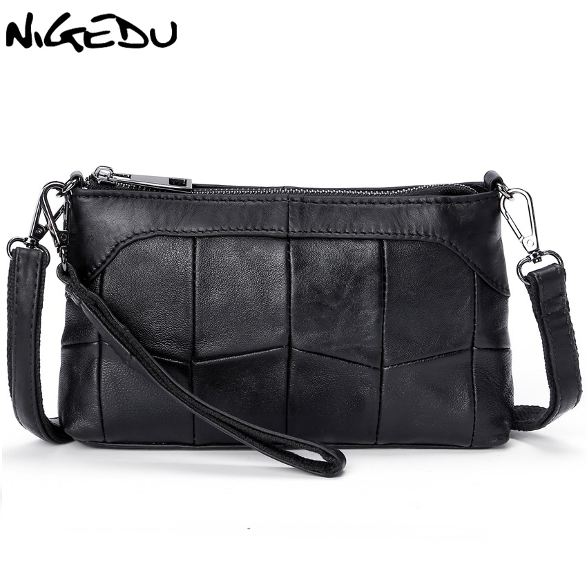 8bee3bcf92dd NIGEDU Genuine leather bags for women Crossbody Bags Soft Stitching  sheepskin Ladies messenger bags Clutches small clutch purses