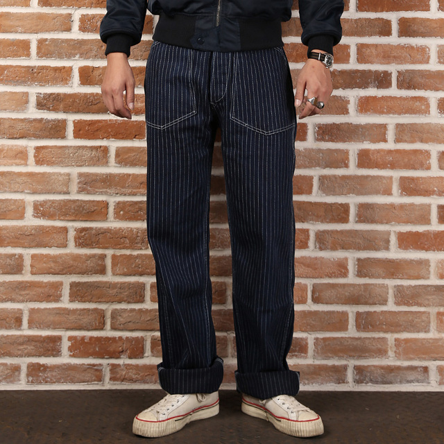 Новое поступление 2016 без запаса свободные полосы джинсовые брюки ман полосой повседневная длинные брюки