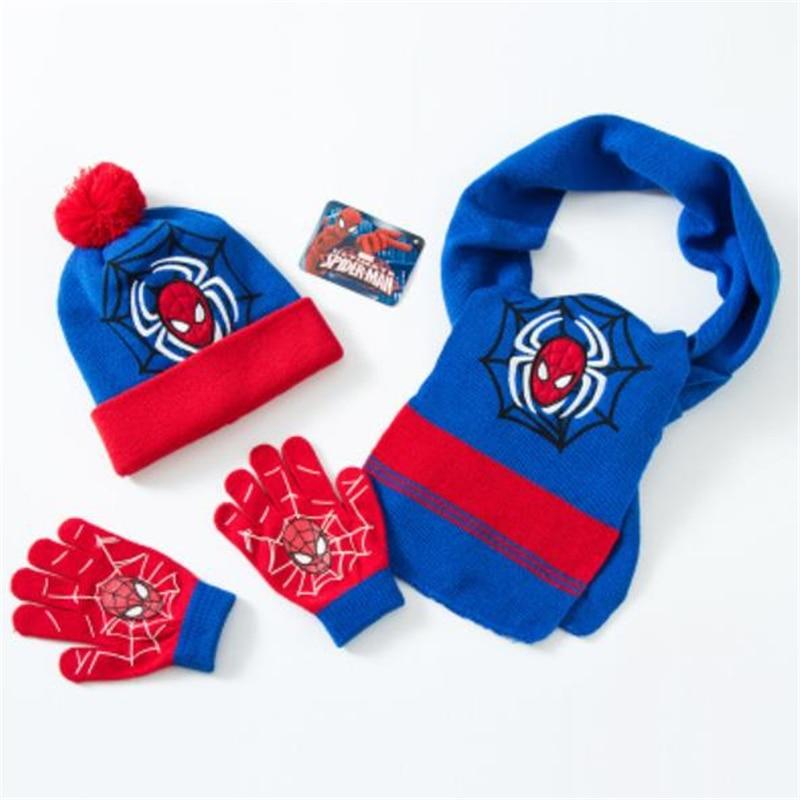 Dedicated Baby Boys Children Spiderman Hats Glove Scarf Set Cartoon Winter Knitted Caps Superior Materials