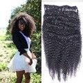 8A Clip-en Extensiones de Cabello Humano Afro Rizado Rizado Clips Humanos la Extensión del pelo Para Las Mujeres Negras 100-200g Cabeza Completa Clip En El Pelo