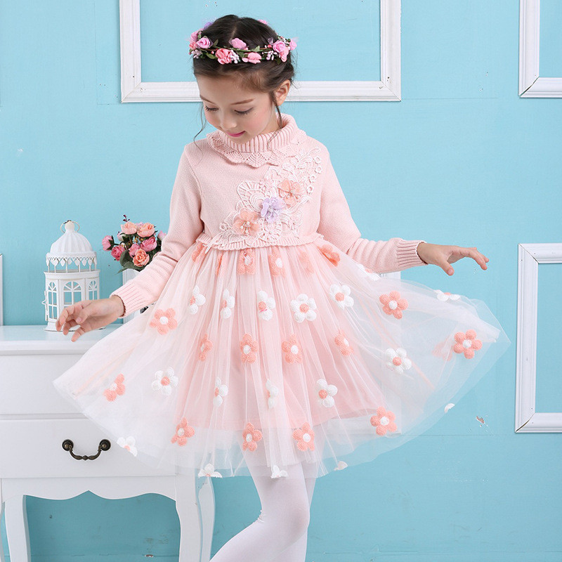 Girls Sweaters 2017 New Autumn Girls Dress Long Sleeve Girls Clothes Pullover  Sweater Princess Knitwear Birthday Party Dress