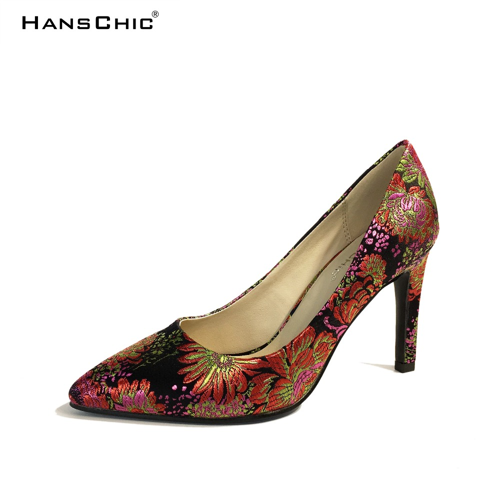 HANSCHIC 2017 Chinese Dark Navy Blue Embroidery Floral Retro Slip on Ladies Women High Heels Pumps Shoes for Female 1066-2 велосипед altair city high 28 19 2015 dark blue
