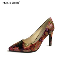 HANSCHIC 2017 Chinese Dark Navy Blue Embroidery Floral Retro Slip on Ladies Women High Heels Pumps Shoes for Female 1066-2