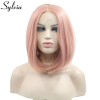 sylvia peach pink short straight synthetic lace front wigs natural look pink bob hairstyle heat resistant fiber for white woman