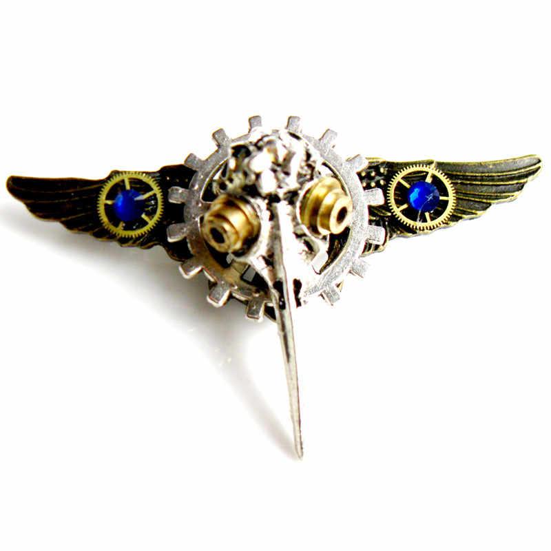 Asas de engrenagens steampunk gótico do punk esqueleto crânio do pássaro pinos broche crachá homens mulheres meninas meninos jóias festa de natal do Dia Das Bruxas