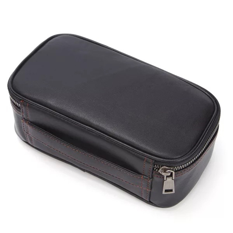 Vintage Designer Genuine Leather Zipper Closure Men's Small Travel Wash Bag Hand Bag For Man Real Cow Skin Male Clutch Purse