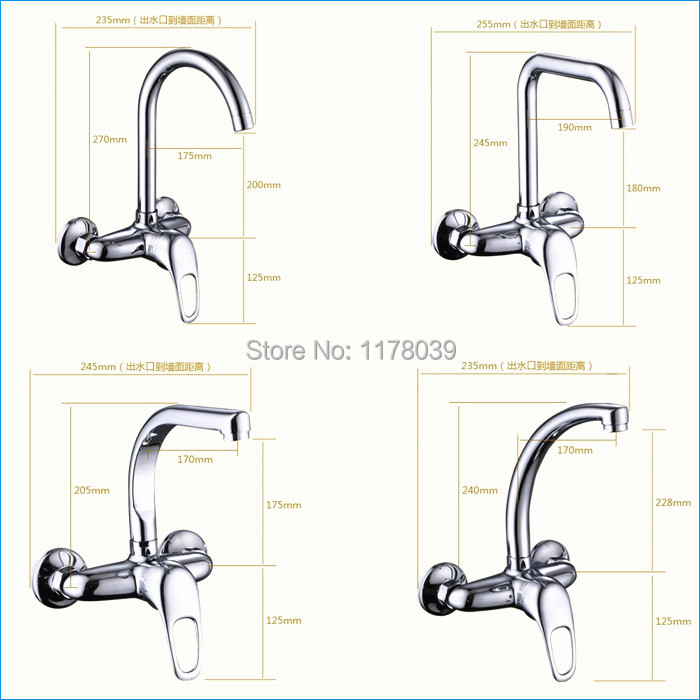 wall mount Rotatable Kitchen Faucet,single handle 2 hole Sink ...