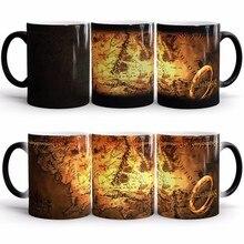 Licht Magie Herr der Ringe karte Becher Farbwechsel Sensitive Keramik Tee kaffee becher tasse für beste Freunde Geschenk