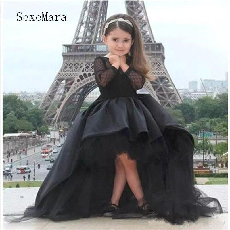 Robes de reconstitution historique en Satin noir pour princesse à manches longues robes de demoiselle d'honneur avec nœud robes d'anniversaire de bal pour enfants taille personnalisée
