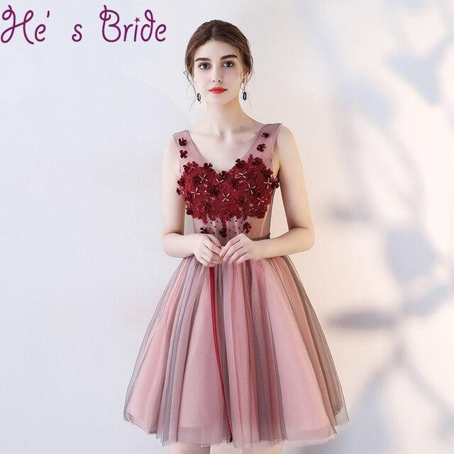 4260ac0fd7 Prom Dress Modern Wine Red V Neck Sleeveless Lace Up Back Vesta De Festa A Line  Flowers Crystal Sweet Party Cocktail Dress