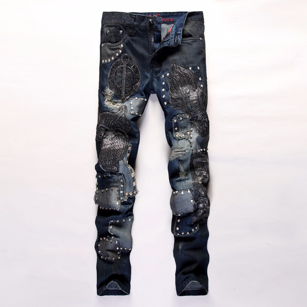 Men's casual holes Distressed ripped Jeans for Men TornDenim Pants Male New Fashion Garment Washed skinny biker punk Jeans J013