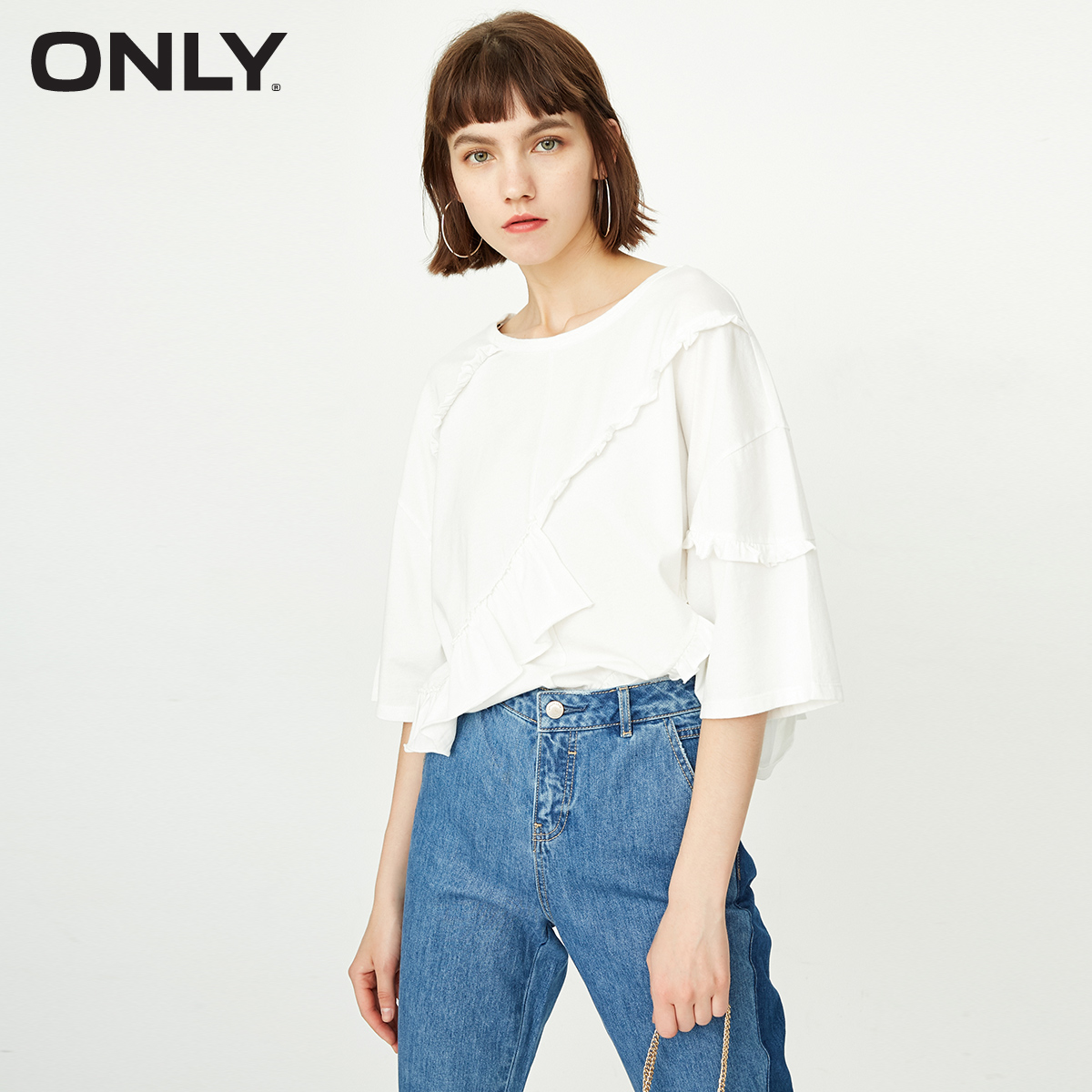 ONLY Spring And Summer Women's Loose Fit 100% Cotton Frilled Elbow Sleeves T-shirt |118330501