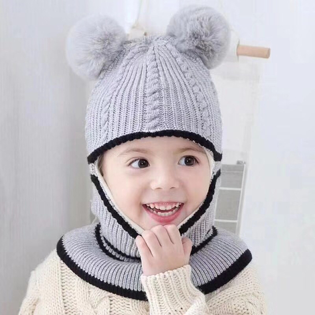 85eaa707124a6 Pompoms Kids Knitted Hat Scarf Caps Thick Neck Warmer Winter Hats For Baby  Boys Girls Skullies Beanies Warm Fleece Cap 7 Colors