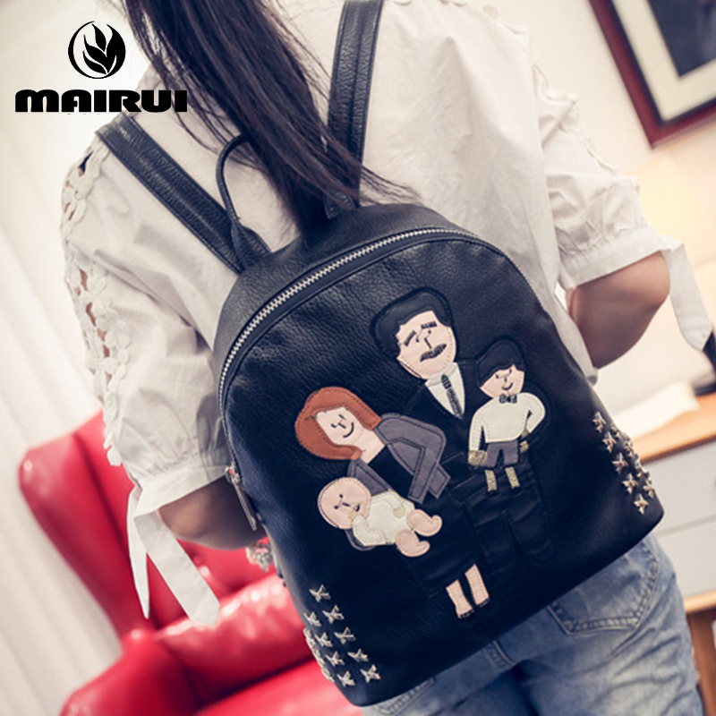 Women Bag Rivet Refinement Washed PU Leather Backpack School Bags Women Rucksack European Trend Stachel Fresh