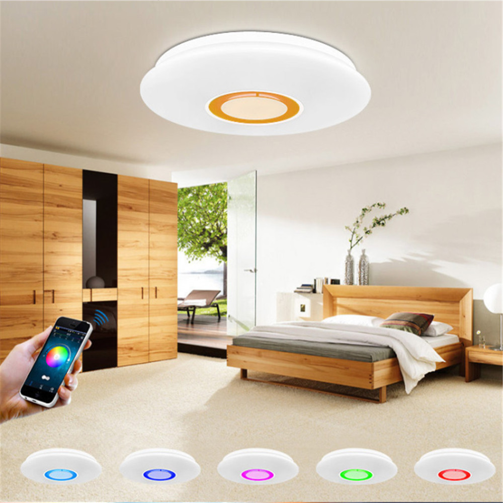 Led Rgb Music Ceiling Light With Bluetooth Phone App Control Color Changing  Lighting Led Ceiling Lamp