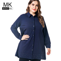 Miaoke Plus Size Womens Tops And Blouses 2018 Autumn Clothing For Women Fashion Vintage Ladies Long Sleeve Tops 4XL 5XL 6XL