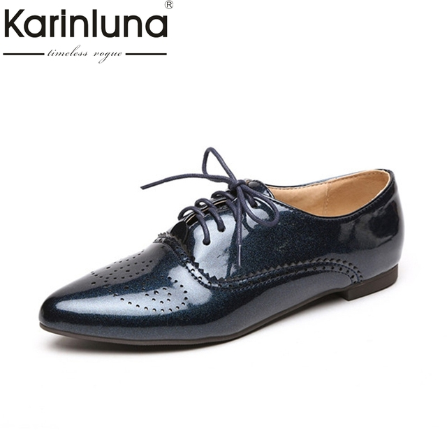 cfc0a97ef63 Karinluna Women s British Lace Up Patent Upper Pointed Toe Shoes Woman  School Girl s Leisure Oxfords Big Size 32-46