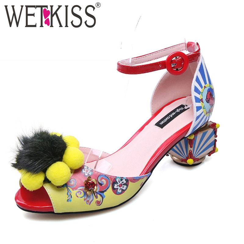 WETKISS Strange Style Women Sandals Ankle Strap Printing Crystal Buckle Peep Toe Footwear New Summer Handmade Ladies Retro Shoes lucyever women vintage square toe flat summer sandals flock buckle casual shoes comfort ankle strap women footwear mujer zapatos